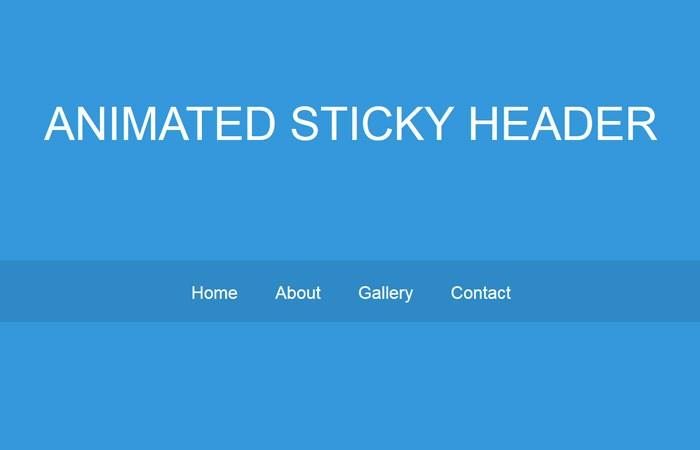 animated sticky header on scroll