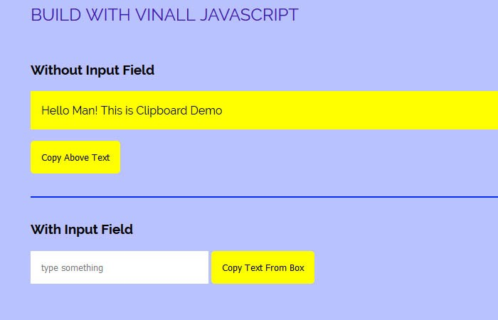 Javascript Copy to Clipboard Without Input