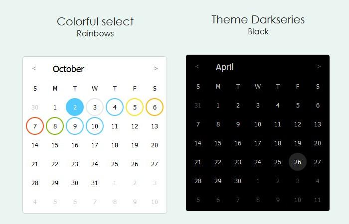 Pure JavaScript Calendar Library