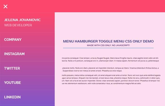 Menu Hamburger Toggle Menu CSS Only