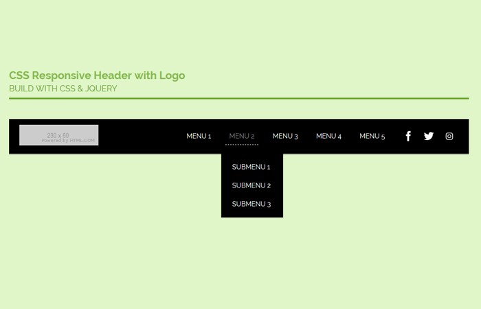 Create CSS Responsive Header with Logo and Menu