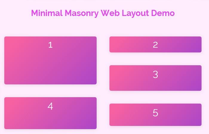Javascript Minimal Masonry Web Layout - MiniMasonry.js