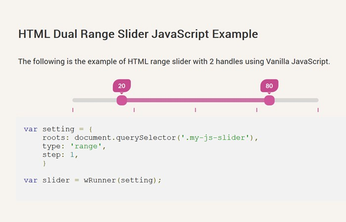 Javascript Dual Range Slider without jQuery