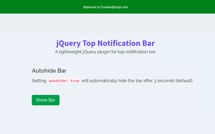 jQuery Top Notification Bar with Auto Hide