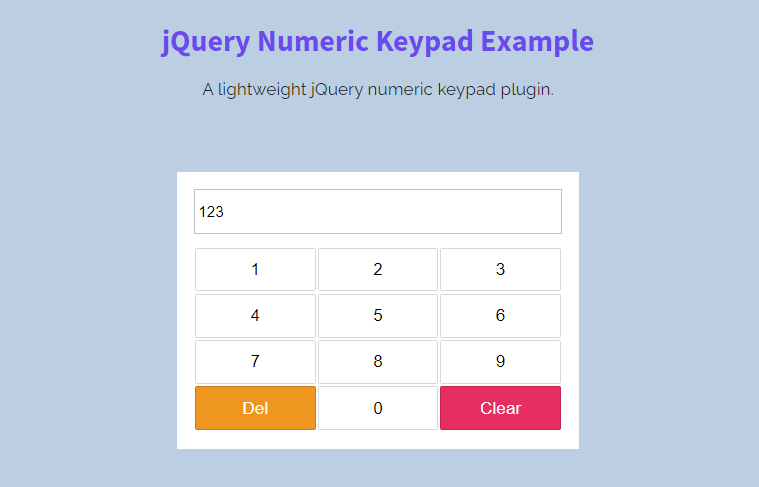 jQuery Numeric Keypad Plugin with Example